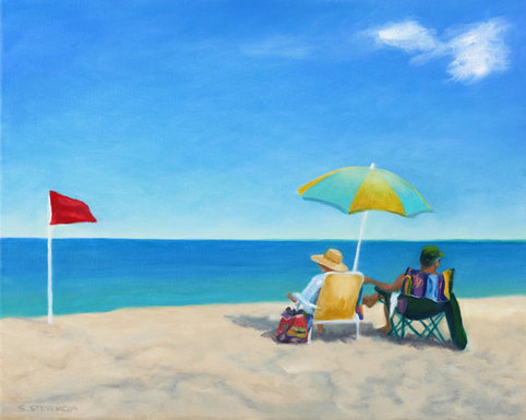 Together - oil painting o couple on the beach under an umbrella by Sandy Stevenson