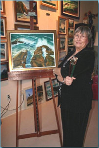 Florida artist Sandy Stevenson in her studio